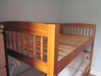 Single pine bed with sprung matress, uphill Lincoln