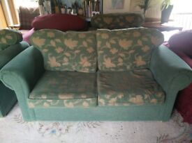 Green sofa bed and 2 chairs