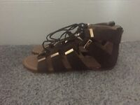 RIVER ISLAND KHAKI GLADIATOR SANDALS - SIZE 8 - NEW WITH TAG