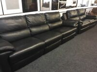 NEW/EX DISPLAY LazyBoy BLACK LEATHER APSLEY 5 + 3 SEATER ELECTRIC RECLINER SOFAS, SETTE, 70% Off RRP