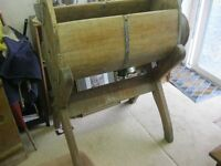A RARE ANTIQUE LARGE WOODEN BARREL BUTTER CHURN ON DETACHABLE STAND. VIEW/DELIVERY AVAILABLE