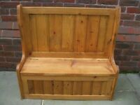 PINE MONKS BENCH. CHILDREN'S PEW WITH STORAGE FOR SHOES, TOYS etc . Delivery possible.