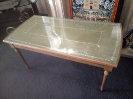 mid 20th century beech effect occasional table with green tooled top under gla