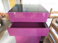 Habitat purple and black 5 drawer chest