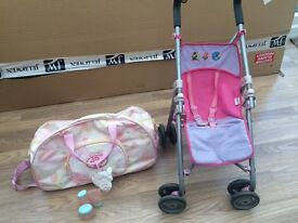 Dolls pushchair and bag £3.50