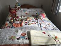 Mamas and Papas Jamboree nursery set including bedding, clock, pictures, toys - excellent condition