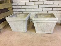 Two Outdoor Concrete Plant Containers with Tree Motif - In Good Condition