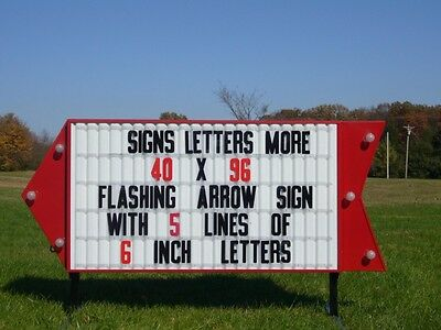 New Flashing Arrow Lighted Outdoor Business Sign W 6 Letters And Stands