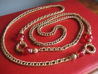 VINTAGE, Necklace, Gold Metal Chain & Ruby Beads, in the Chanel Style