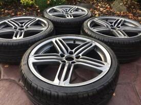 "19"" Audi Segment Style A4 A3 A6 Alloy wheels & Tyres Golf MK5 Caddy Scirocco."