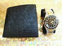 Rolex watch and wallet set
