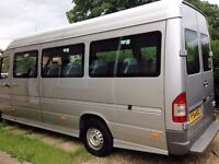 16 Seat Mercedes Mini Bus with Driver for hire fully licensed and insured