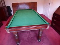 E J Riley quarter size slate bed snooker/dining table