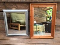 2 solid wood bevelled mirrors AND 2 standing shade lamps, great condition!