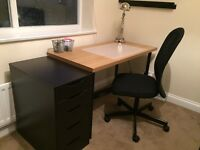 IKEA table, drawer unit and chair