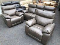 New/Ex-display 3+1+1 brown genuine leather suite - BARGAIN