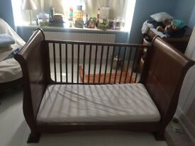 John Lewis Sleigh Cot Bed & Changing Unit - Walnut solid wood