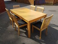 Ikea Bjursta Oak Extending Table & 6 Chairs FREE DELIVERY 252
