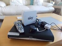 sky hd box and white sky router with cables etc boxed