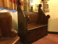 Pine antique pew with cupboard