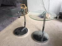 2 glass and chrome side tables
