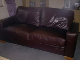 Leather Couch with one chair, has some scratches very comfortable. Free,