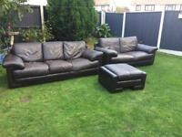 Csl Italian leather sofa suite chestnut brown leather with storage footrest. Can deliver