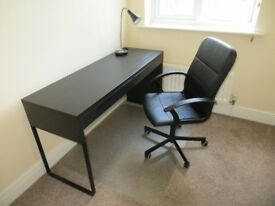 Ikea desk with swivel chair and lamp. Excellent condition.