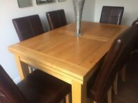 Oak Furniture Land Dining Table & 6 Leather Chairs