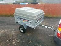 Erde 122 car tipping trailer with extra high lockable lid