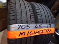 matching pair of 205 45 17 MICHELINS 6mm tread £70 pair supp & fitted (loads more av}