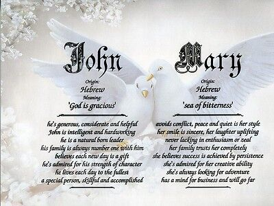 Doves  Double Name Meaning Print Personalized  Love Romance
