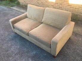 M&S 2 Seater Sand Coloured Fabric Sofa