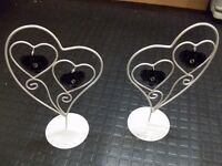 2 vintage style heart shaped ornaments