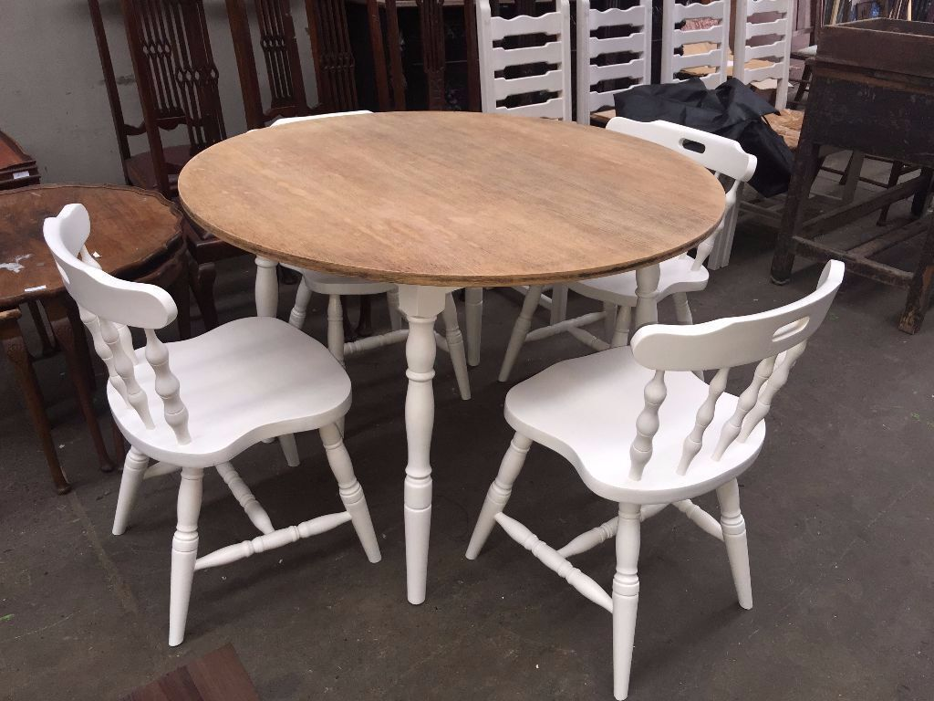 Nice Shabby Chic White Round Wood Dining Table With Chairs In - Round wooden dining table and 4 chairs