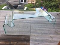 Curved Solid Glass Coffee Table Stunning & Unusual