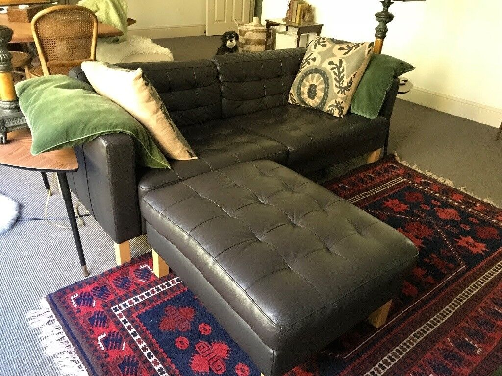 Surprising Ikea Dark Brown Genuine Leather 3 Seater Sofa Ottoman Landskrona In Hampstead London Gumtree Creativecarmelina Interior Chair Design Creativecarmelinacom