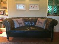 Antique Victorian Chesterfield leather sofa / settee