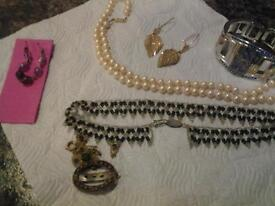 Few items of jewellery for sale, gold earings , pearl necklace