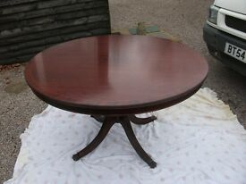 BEAUTIFUL LARGE ANTIQUE ROUND SOLID PEDESTAL TABLE WITH INLAID EDGE