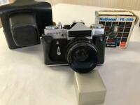 Zenit EM 35mm Film Camera with Helios 44M Lens 58mm f/2 Lens and Leather Case