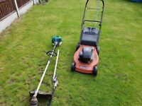 Lawn mower petrol strimmer hadge cutters an chain saw starter pack