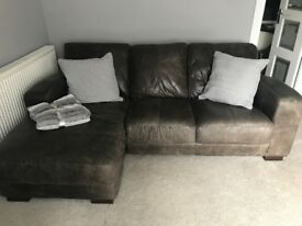 3 Seater leather sofa with chaise and armchair