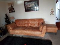 NATURAL HIDE LEATHER SETTEE