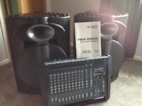 LEM Powered Mixing Desk and passive speakers .