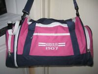 Pink and Navy Blue Fabric Travel Bag