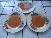 3 ORIGINAL BIZARRE CLARICE CLIFF AUTUMN CROCUS SIDE SALAD CAKE PLATES DATED 1934