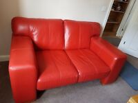 Red leather sofa and armchair excellent condition.