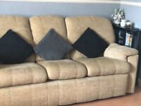 Beige 3 seater Sofa with 2 electric reclining matching chairs, good condition from non smoking home