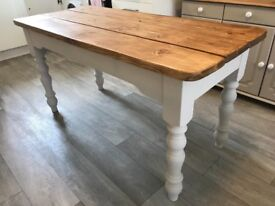 Farmhouse rustic pine table painted with Farrow and Ball and finished with Briwax top